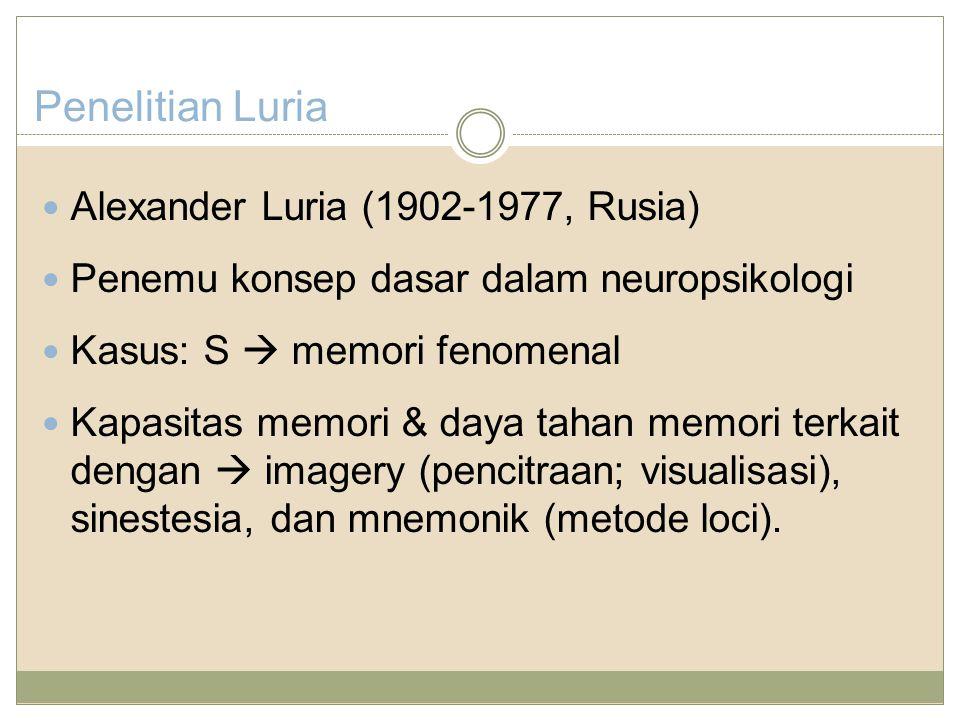 Penelitian Luria Alexander Luria (1902-1977, Rusia)