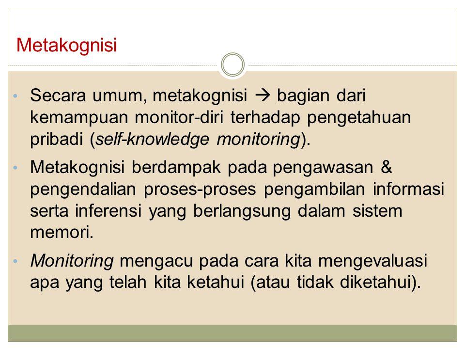 Metakognisi Secara umum, metakognisi  bagian dari kemampuan monitor-diri terhadap pengetahuan pribadi (self-knowledge monitoring).