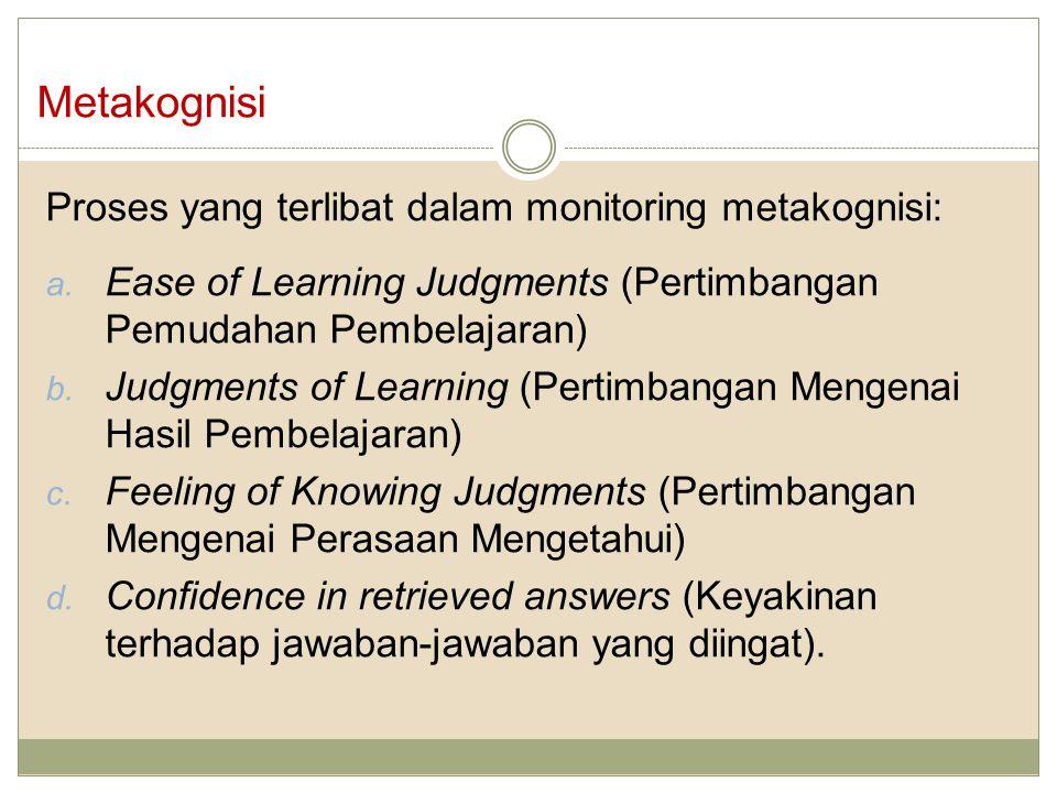 Metakognisi Proses yang terlibat dalam monitoring metakognisi:
