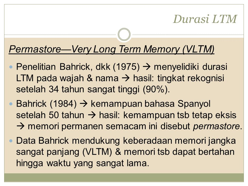 Durasi LTM Permastore—Very Long Term Memory (VLTM)