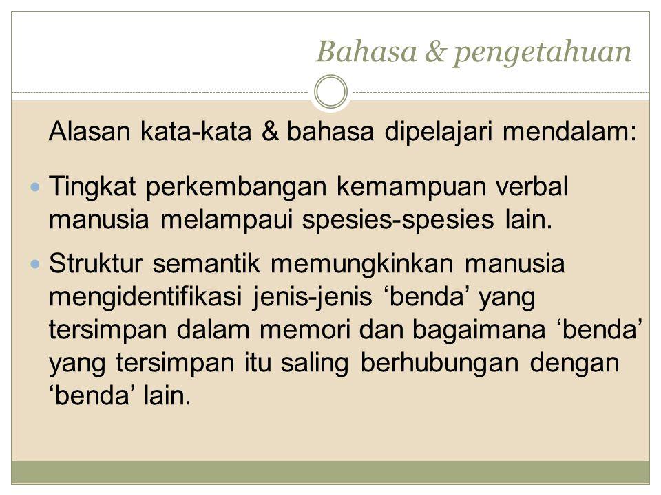Bahasa & pengetahuan Alasan kata-kata & bahasa dipelajari mendalam: