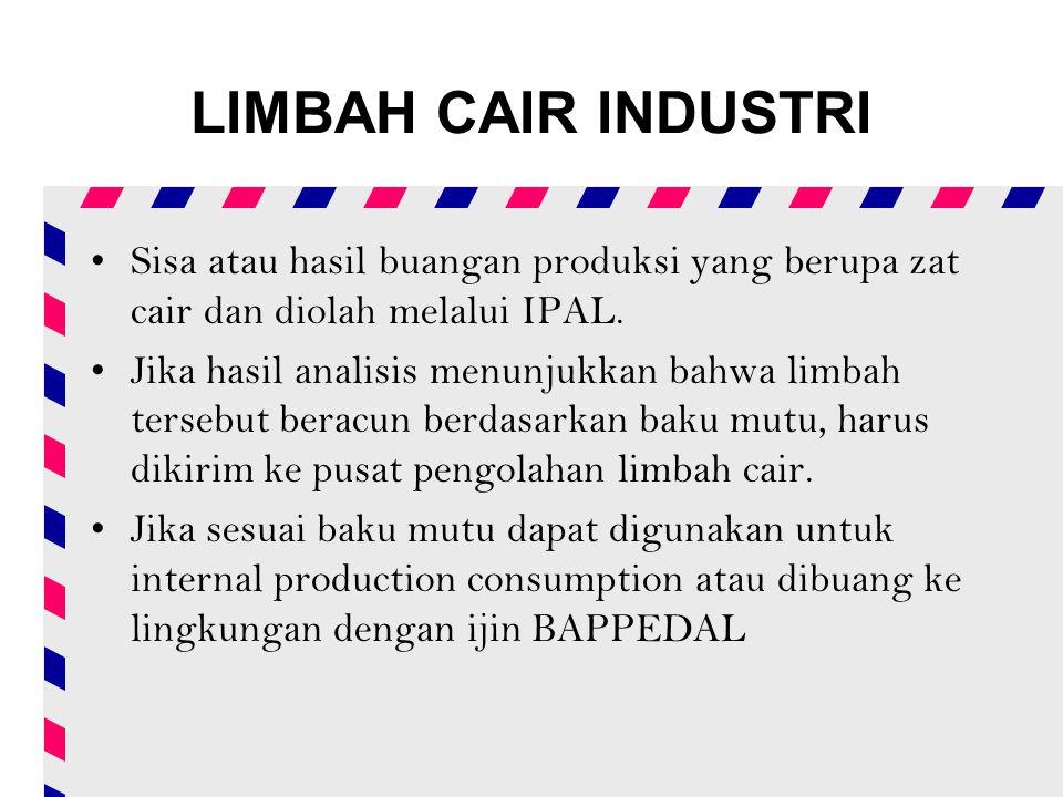 LIMBAH CAIR INDUSTRI Sisa atau hasil buangan produksi yang berupa zat cair dan diolah melalui IPAL.