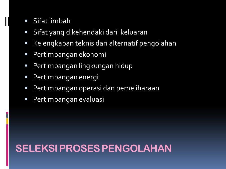 SELEKSI PROSES PENGOLAHAN