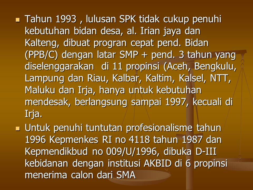 Tahun 1993 , lulusan SPK tidak cukup penuhi kebutuhan bidan desa, al