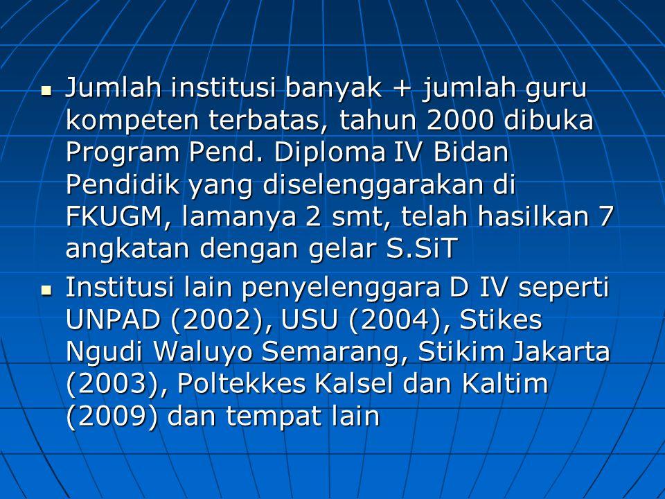 Jumlah institusi banyak + jumlah guru kompeten terbatas, tahun 2000 dibuka Program Pend. Diploma IV Bidan Pendidik yang diselenggarakan di FKUGM, lamanya 2 smt, telah hasilkan 7 angkatan dengan gelar S.SiT