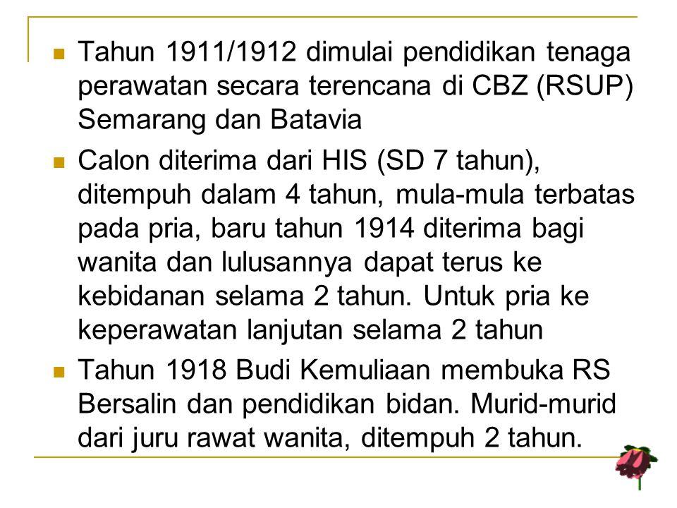 Tahun 1911/1912 dimulai pendidikan tenaga perawatan secara terencana di CBZ (RSUP) Semarang dan Batavia