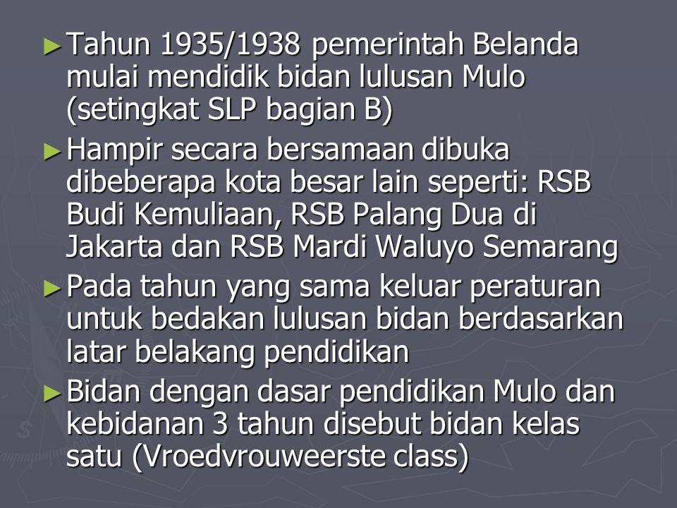 Tahun 1935/1938 pemerintah Belanda mulai mendidik bidan lulusan Mulo (setingkat SLP bagian B)