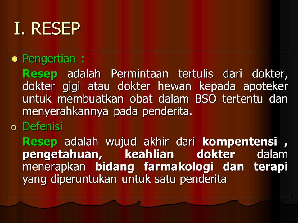 I. RESEP Pengertian :