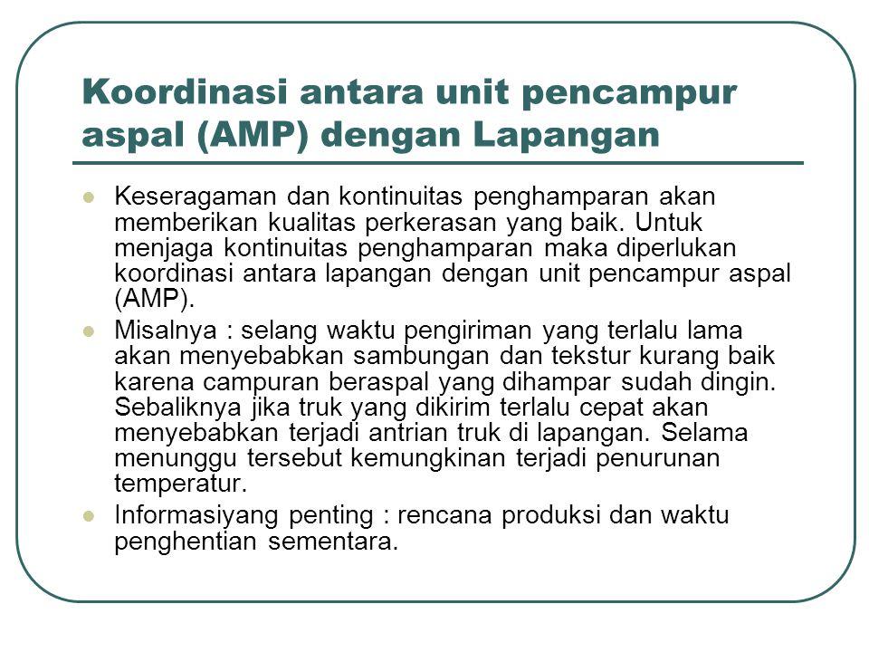 Koordinasi antara unit pencampur aspal (AMP) dengan Lapangan
