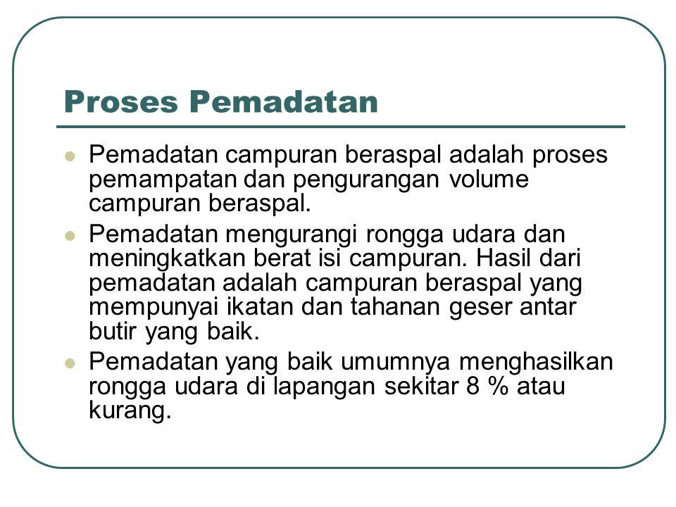 Proses Pemadatan Pemadatan campuran beraspal adalah proses pemampatan dan pengurangan volume campuran beraspal.