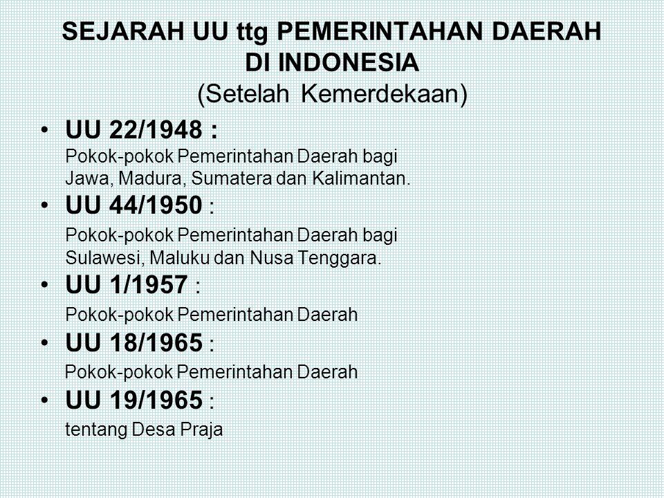 SEJARAH UU ttg PEMERINTAHAN DAERAH DI INDONESIA (Setelah Kemerdekaan)