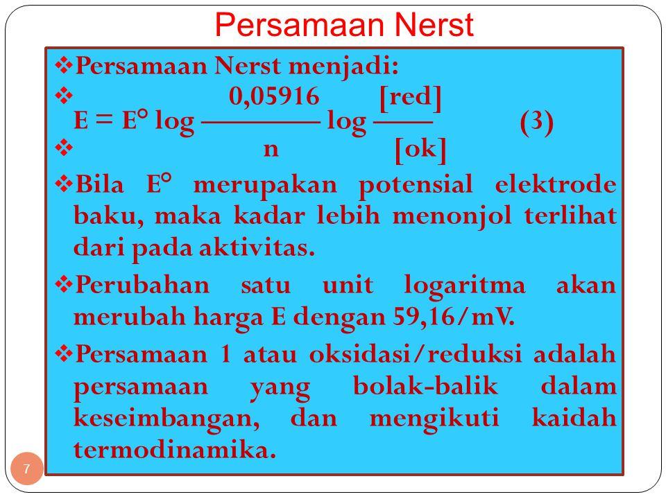 Persamaan Nerst Persamaan Nerst menjadi: