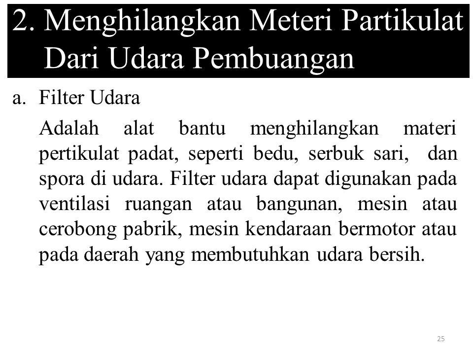 2. Menghilangkan Meteri Partikulat Dari Udara Pembuangan
