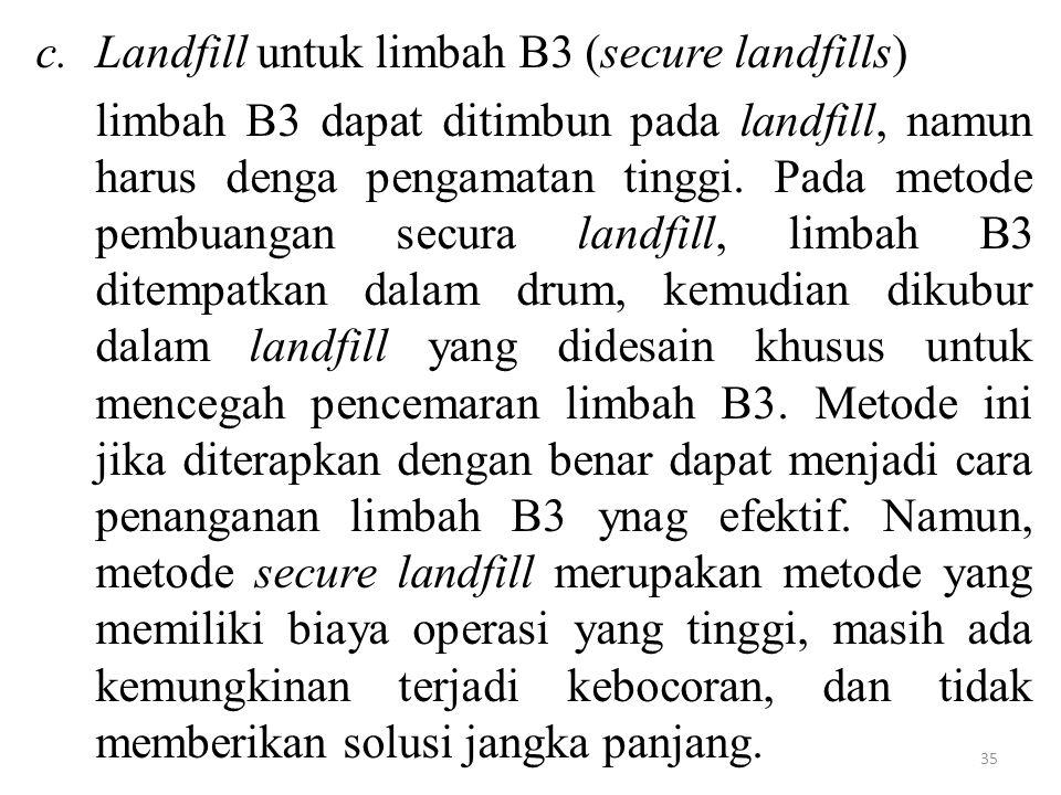 Landfill untuk limbah B3 (secure landfills)