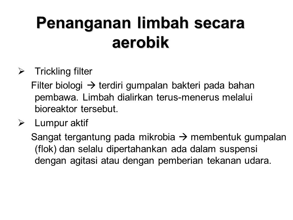 Penanganan limbah secara aerobik