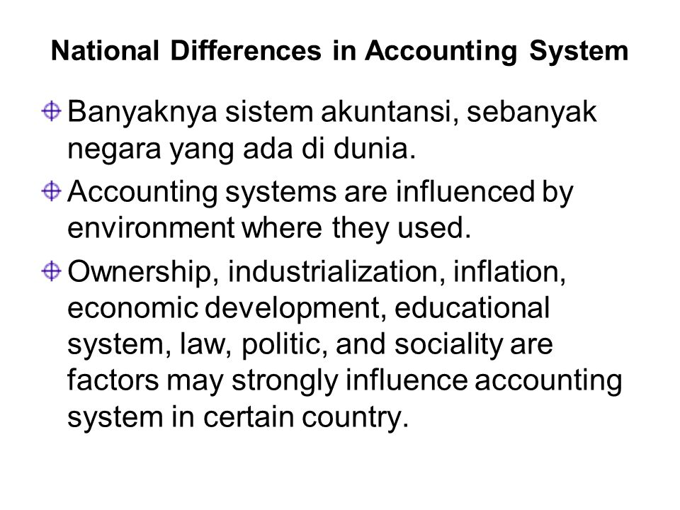 National Differences in Accounting System