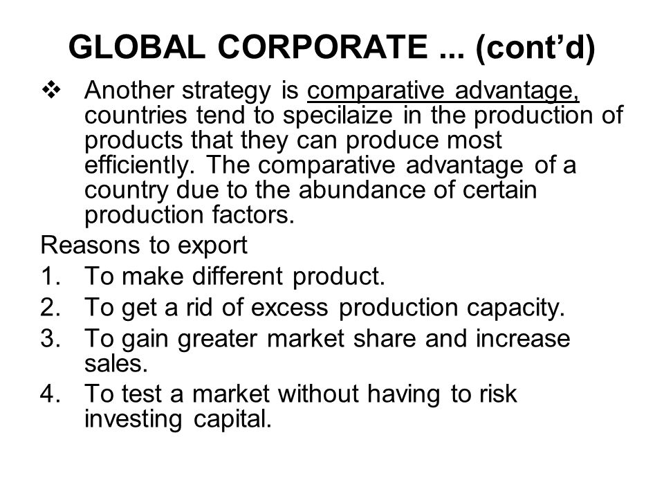 GLOBAL CORPORATE ... (cont'd)