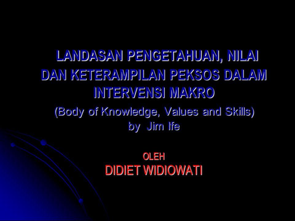 LANDASAN PENGETAHUAN, NILAI DAN KETERAMPILAN PEKSOS DALAM INTERVENSI MAKRO (Body of Knowledge, Values and Skills) by Jim Ife OLEH DIDIET WIDIOWATI