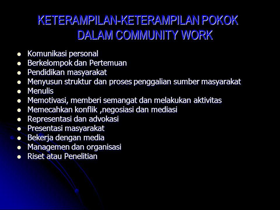 KETERAMPILAN-KETERAMPILAN POKOK DALAM COMMUNITY WORK