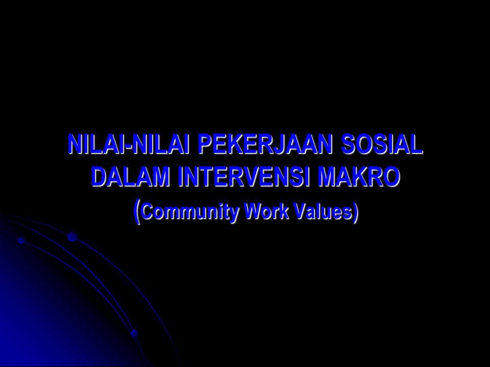 NILAI-NILAI PEKERJAAN SOSIAL DALAM INTERVENSI MAKRO (Community Work Values)