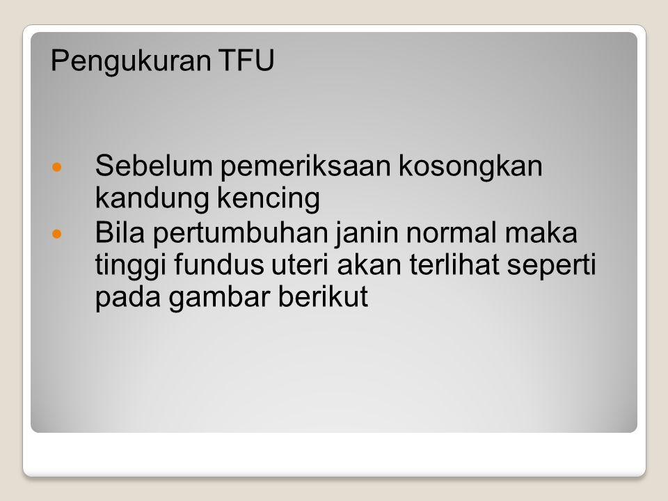 Pengukuran TFU Sebelum pemeriksaan kosongkan kandung kencing.