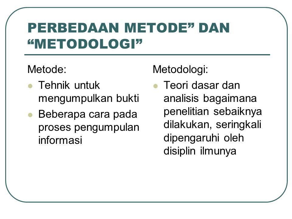 PERBEDAAN METODE DAN METODOLOGI