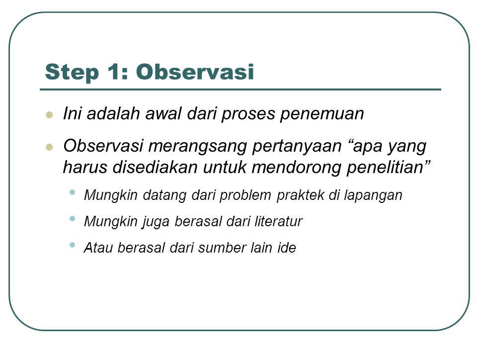 Step 1: Observasi Ini adalah awal dari proses penemuan