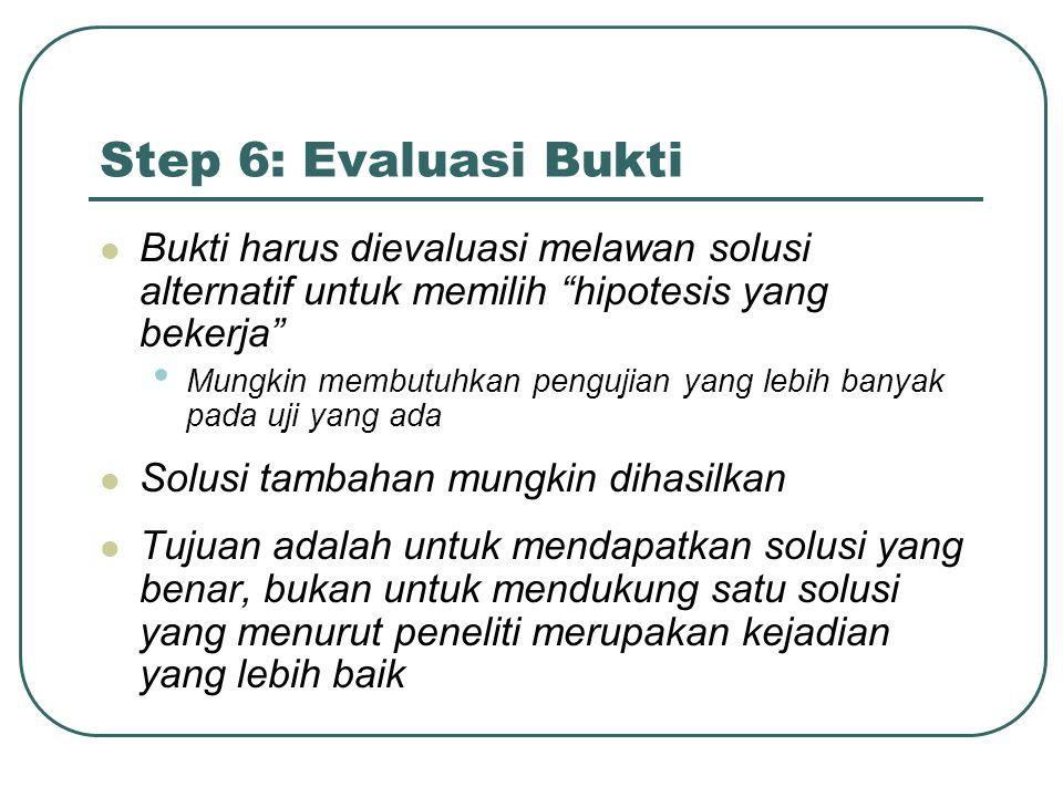 Step 6: Evaluasi Bukti Bukti harus dievaluasi melawan solusi alternatif untuk memilih hipotesis yang bekerja