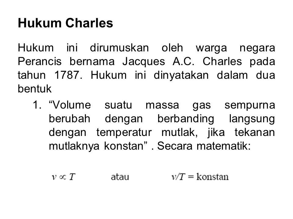 Hukum Charles Hukum ini dirumuskan oleh warga negara Perancis bernama Jacques A.C. Charles pada tahun 1787. Hukum ini dinyatakan dalam dua bentuk.