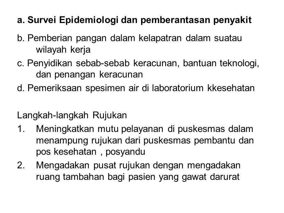 a. Survei Epidemiologi dan pemberantasan penyakit