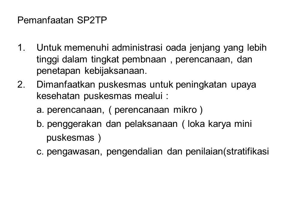 Pemanfaatan SP2TP Untuk memenuhi administrasi oada jenjang yang lebih tinggi dalam tingkat pembnaan , perencanaan, dan penetapan kebijaksanaan.