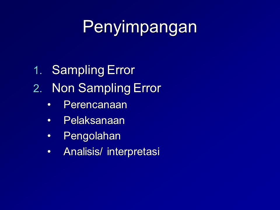 Penyimpangan Sampling Error Non Sampling Error Perencanaan Pelaksanaan