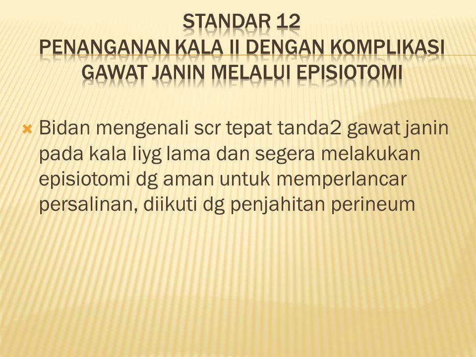 Standar 12 penanganan kala ii dengan komplikasi gawat janin melalui episiotomi