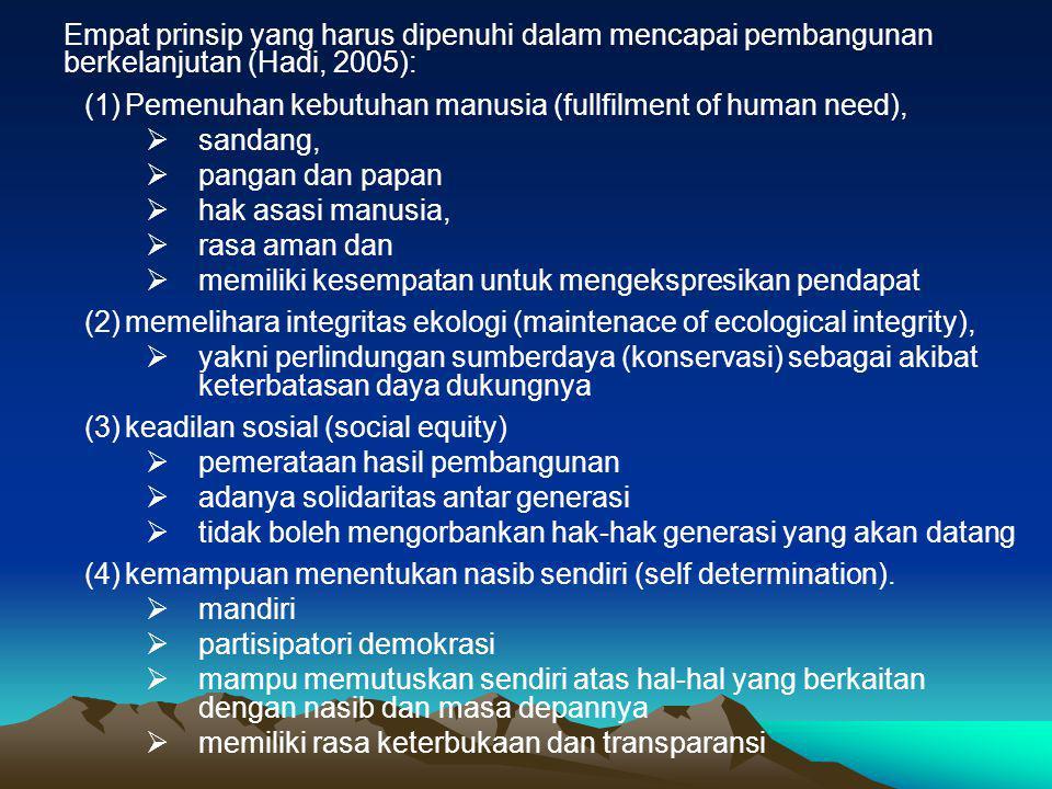 Empat prinsip yang harus dipenuhi dalam mencapai pembangunan berkelanjutan (Hadi, 2005):