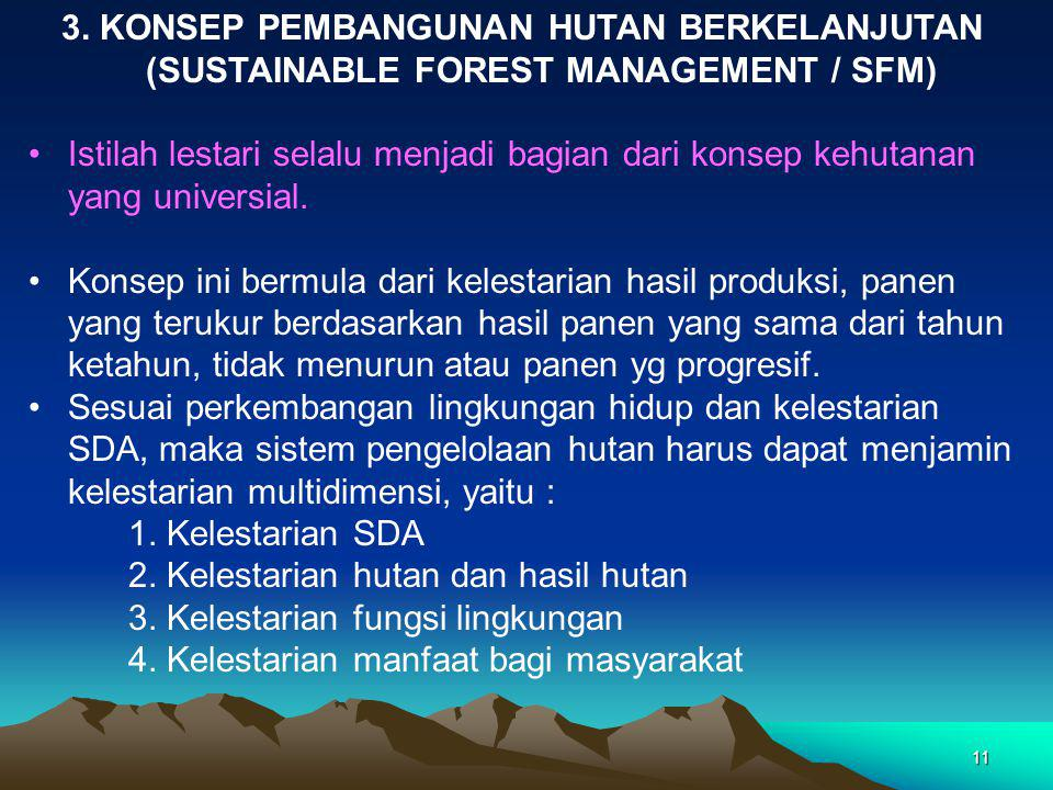 3. KONSEP PEMBANGUNAN HUTAN BERKELANJUTAN (SUSTAINABLE FOREST MANAGEMENT / SFM)