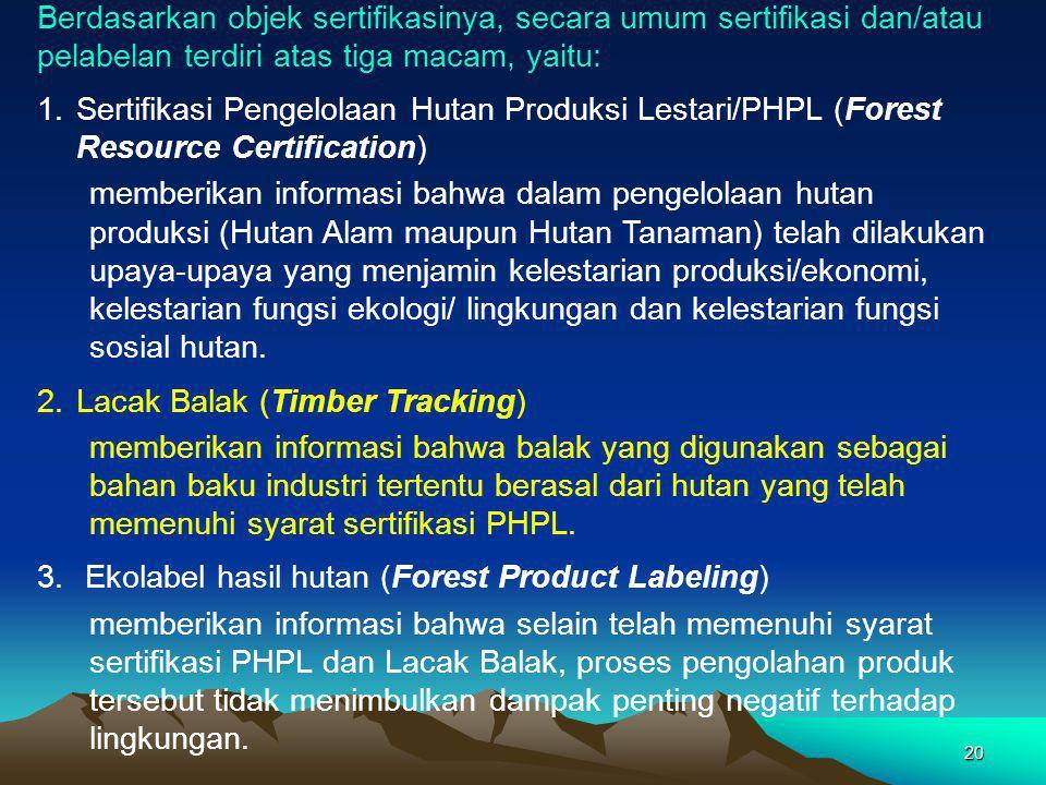 Berdasarkan objek sertifikasinya, secara umum sertifikasi dan/atau pelabelan terdiri atas tiga macam, yaitu: