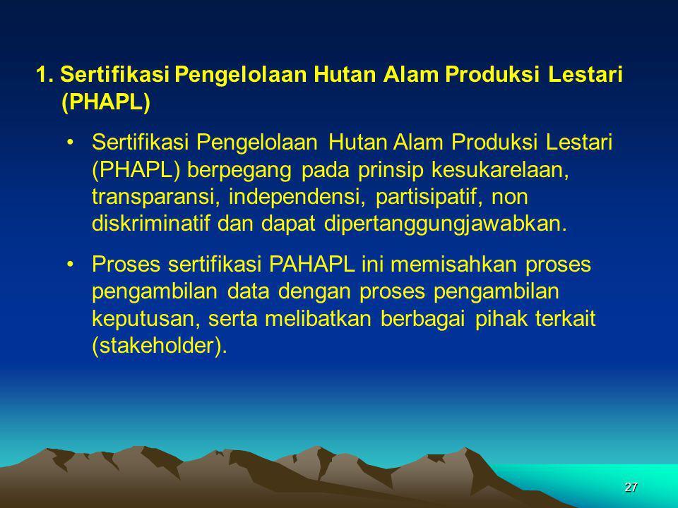 1. Sertifikasi Pengelolaan Hutan Alam Produksi Lestari (PHAPL)