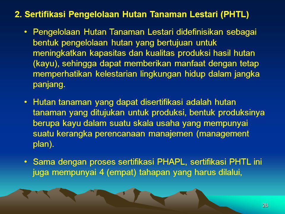 2. Sertifikasi Pengelolaan Hutan Tanaman Lestari (PHTL)