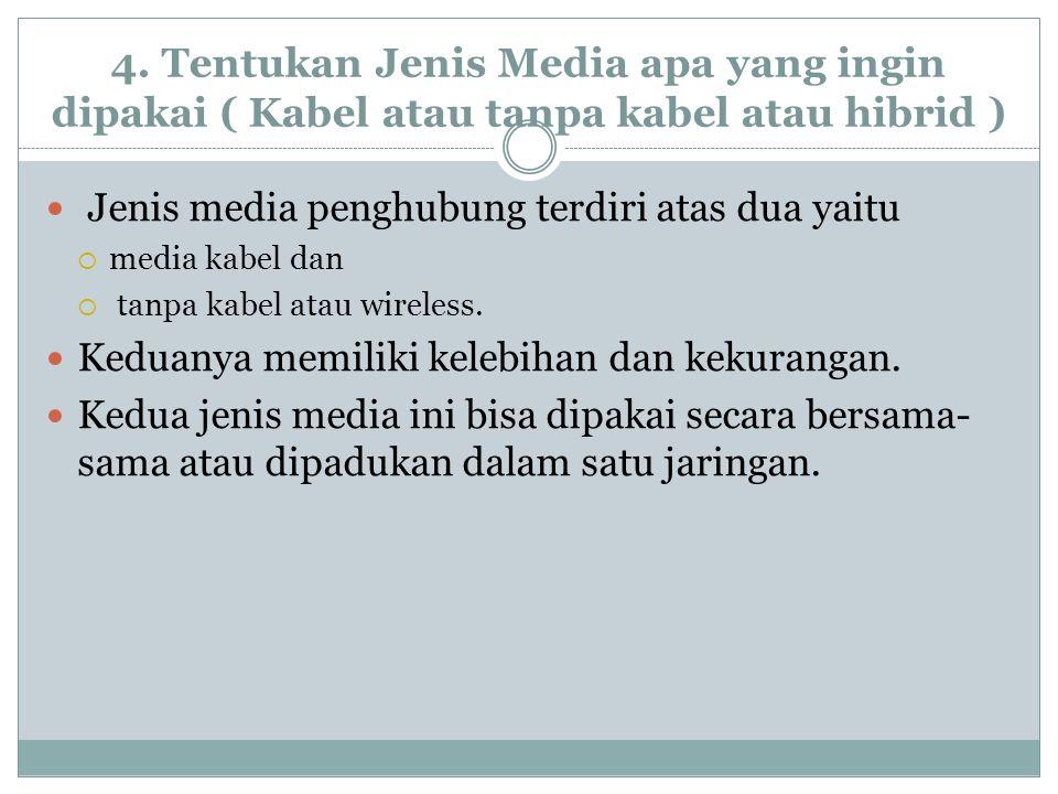 4. Tentukan Jenis Media apa yang ingin dipakai ( Kabel atau tanpa kabel atau hibrid )