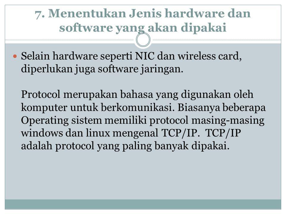 7. Menentukan Jenis hardware dan software yang akan dipakai