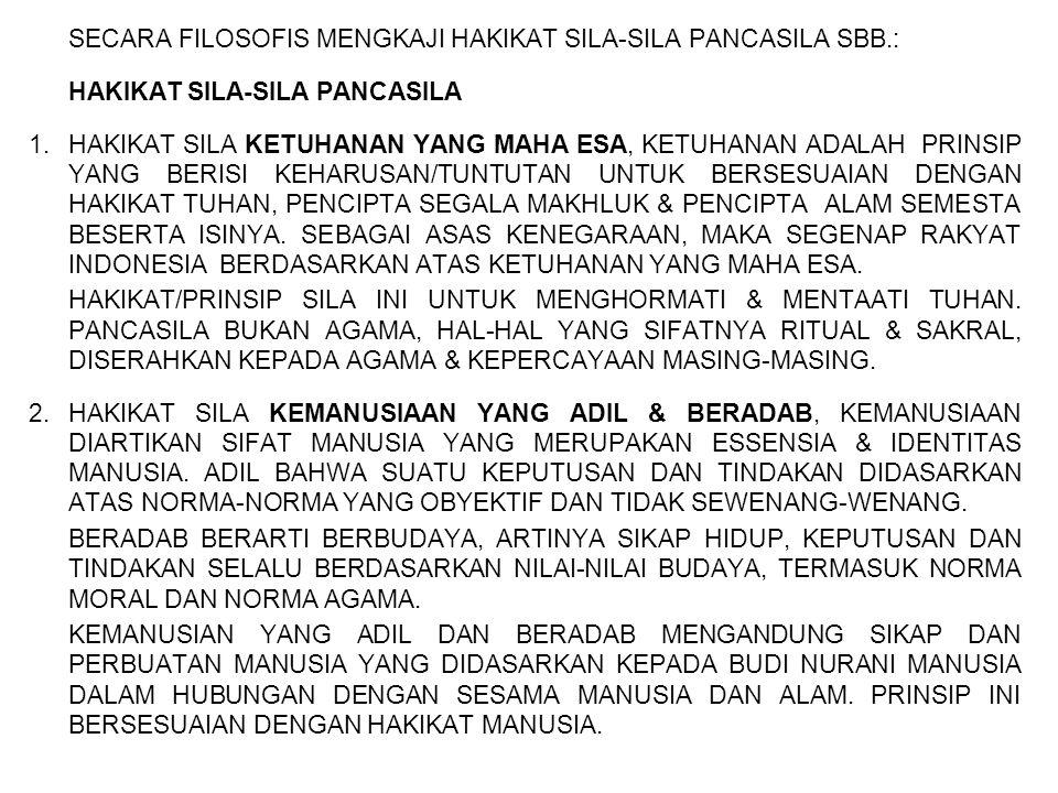 SECARA FILOSOFIS MENGKAJI HAKIKAT SILA-SILA PANCASILA SBB.: