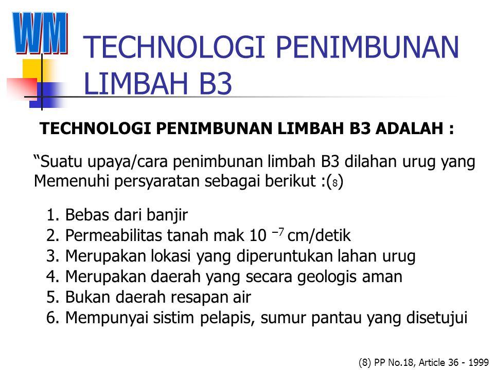 TECHNOLOGI PENIMBUNAN LIMBAH B3