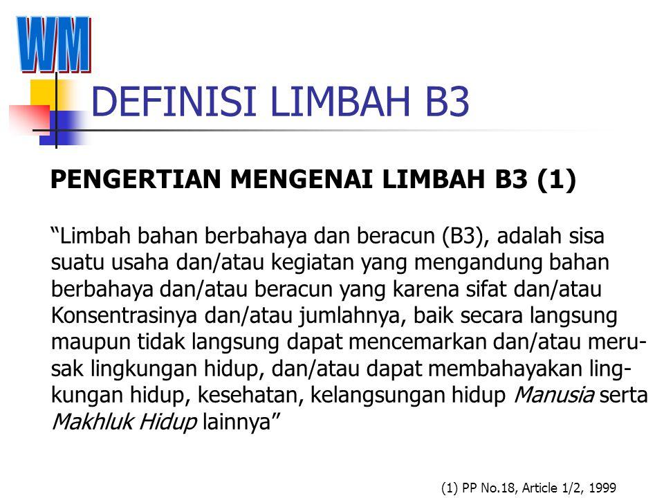 DEFINISI LIMBAH B3 PENGERTIAN MENGENAI LIMBAH B3 (1) WM
