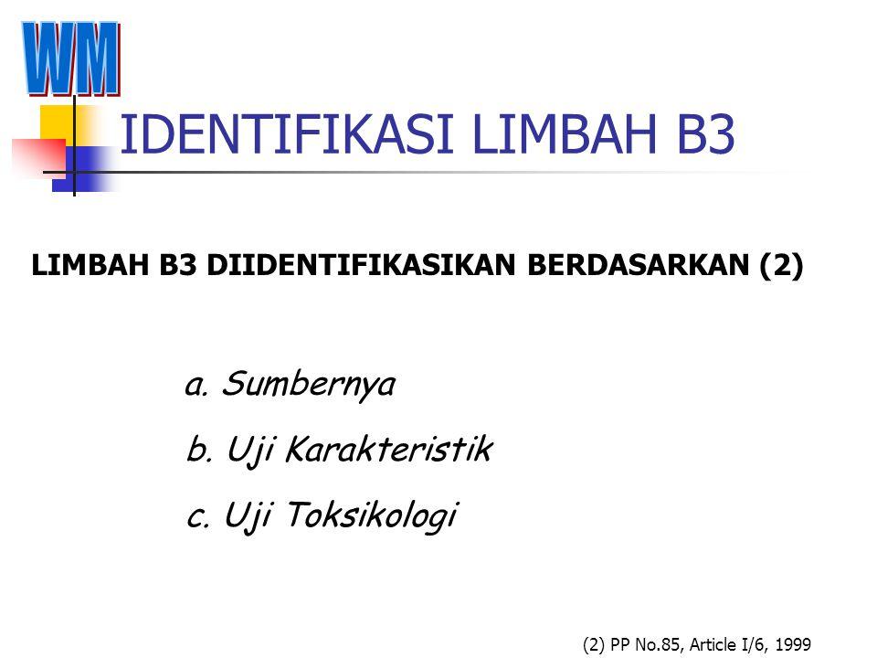 IDENTIFIKASI LIMBAH B3 a. Sumbernya b. Uji Karakteristik