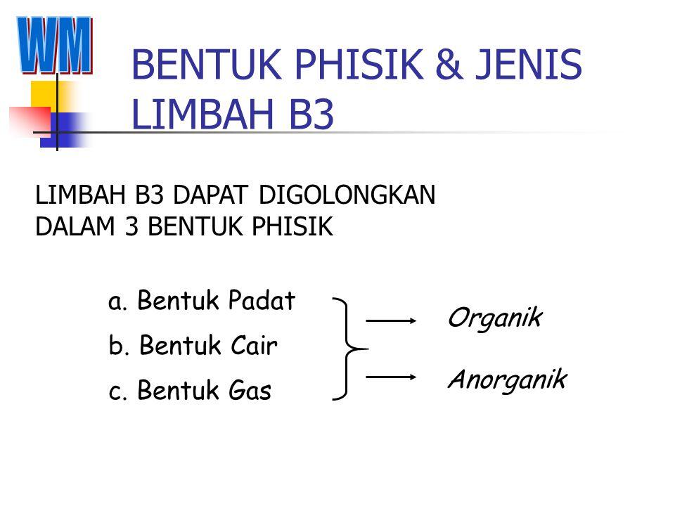 BENTUK PHISIK & JENIS LIMBAH B3