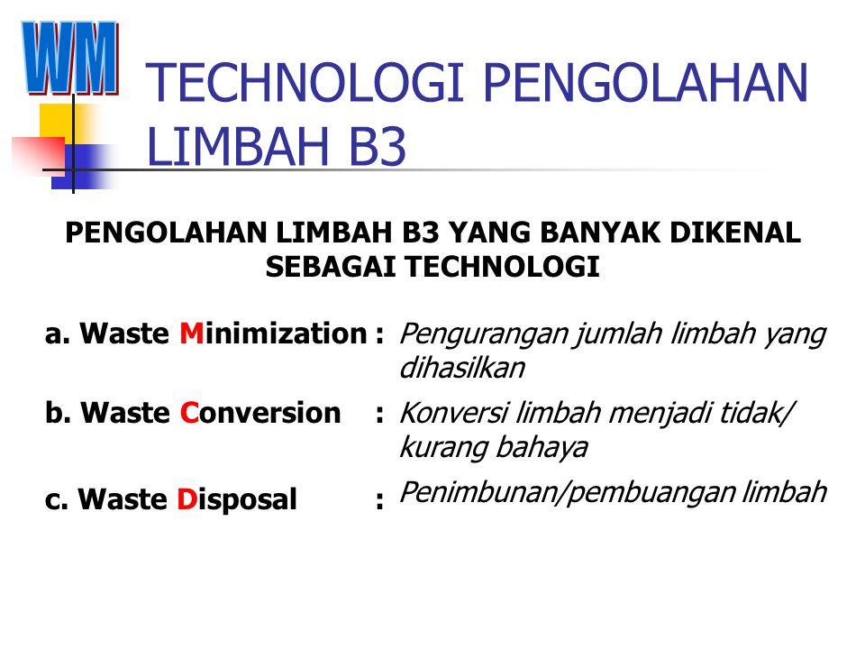 TECHNOLOGI PENGOLAHAN LIMBAH B3