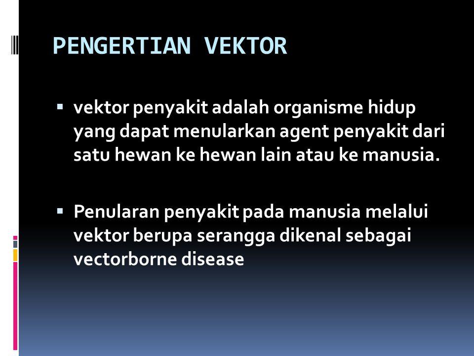 PENGERTIAN VEKTOR vektor penyakit adalah organisme hidup yang dapat menularkan agent penyakit dari satu hewan ke hewan lain atau ke manusia.