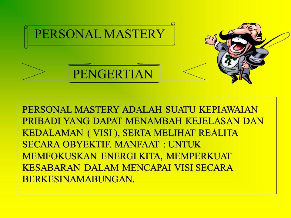 PERSONAL MASTERY PENGERTIAN