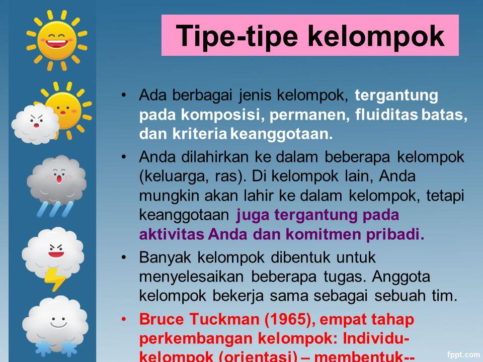 Tipe-tipe kelompok Ada berbagai jenis kelompok, tergantung pada komposisi, permanen, fluiditas batas, dan kriteria keanggotaan.
