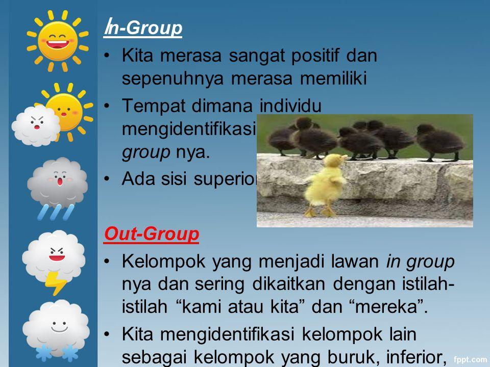 In-Group Kita merasa sangat positif dan sepenuhnya merasa memiliki